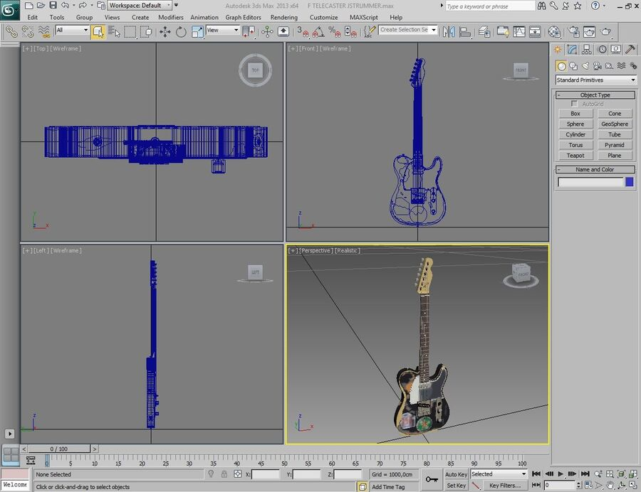 Fender Telecaster Joe Strummer royalty-free 3d model - Preview no. 4