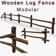 Clôture en bois rond détail bas 3d model