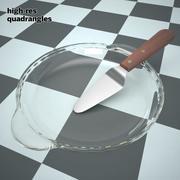 plat à tarte plat plat et couteau 3d model