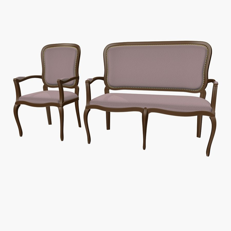 Classic Bench+Armchair royalty-free 3d model - Preview no. 2