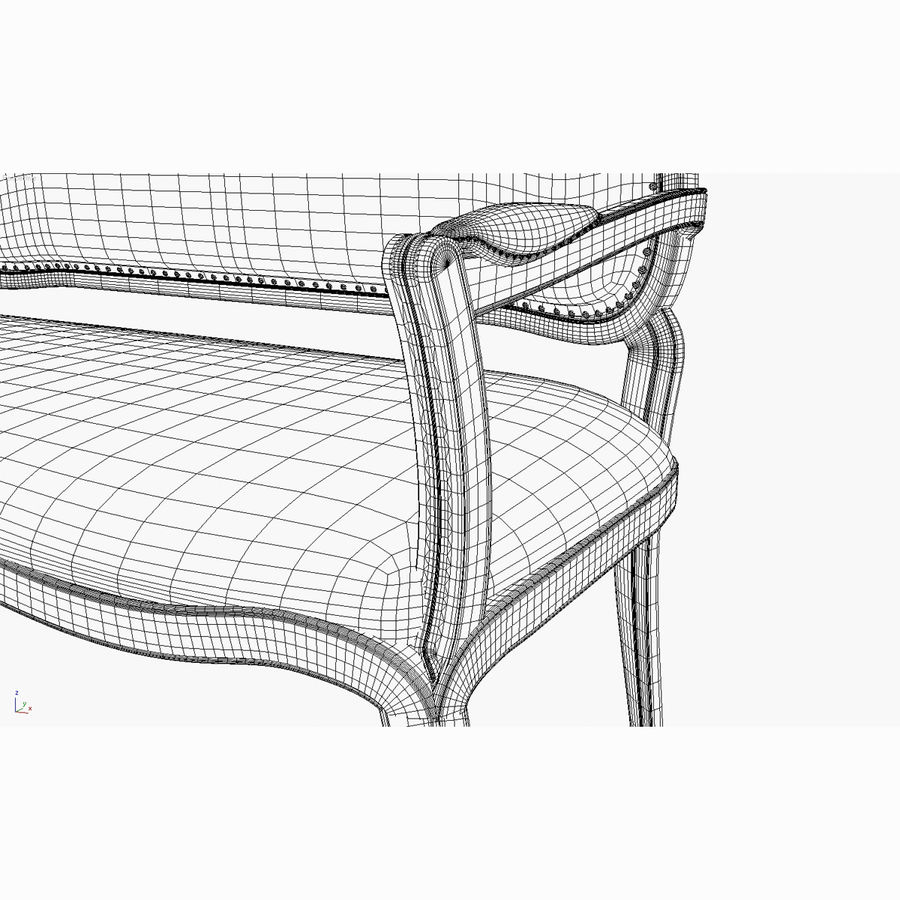 Classic Bench+Armchair royalty-free 3d model - Preview no. 13