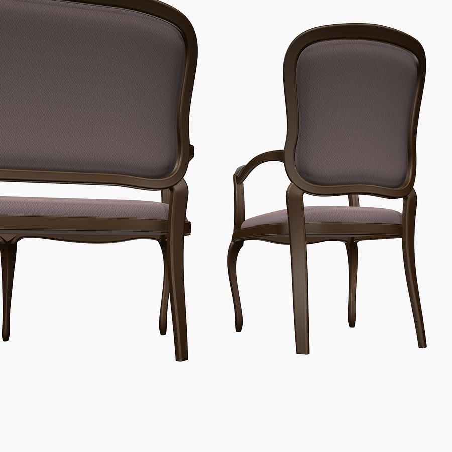 Classic Bench+Armchair royalty-free 3d model - Preview no. 9