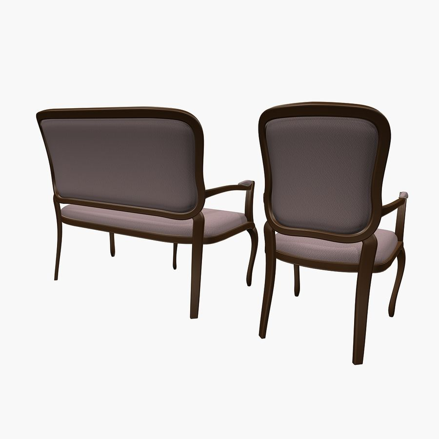 Classic Bench+Armchair royalty-free 3d model - Preview no. 4