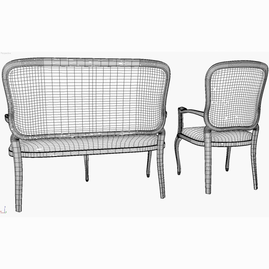 Classic Bench+Armchair royalty-free 3d model - Preview no. 12