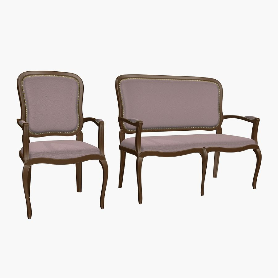 Classic Bench+Armchair royalty-free 3d model - Preview no. 1