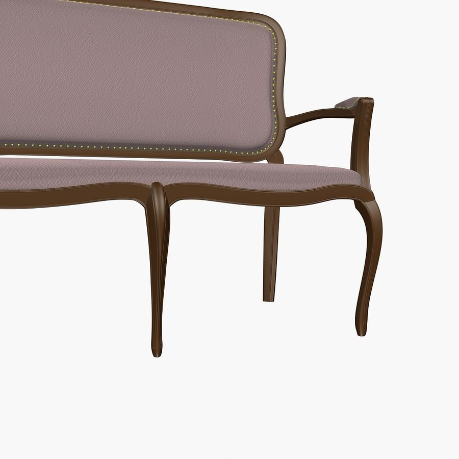 Classic Bench+Armchair royalty-free 3d model - Preview no. 8