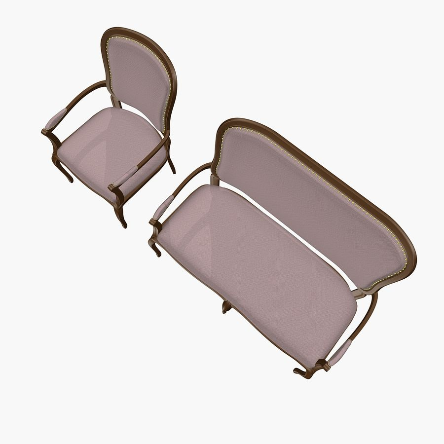 Classic Bench+Armchair royalty-free 3d model - Preview no. 6