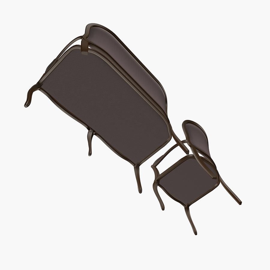 Classic Bench+Armchair royalty-free 3d model - Preview no. 5