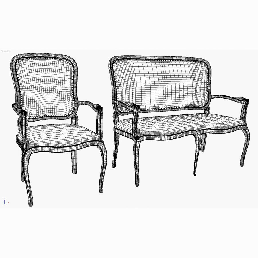 Classic Bench+Armchair royalty-free 3d model - Preview no. 11
