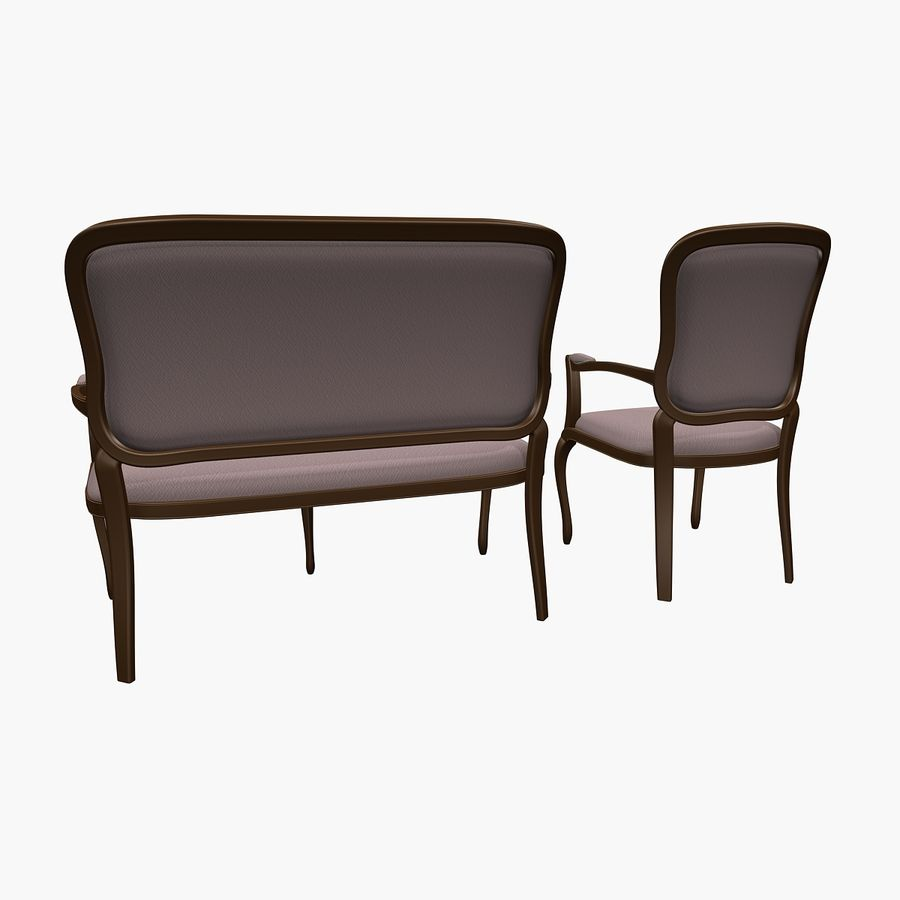 Classic Bench+Armchair royalty-free 3d model - Preview no. 3