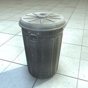 Old Metal Trashcan Bin 3d model