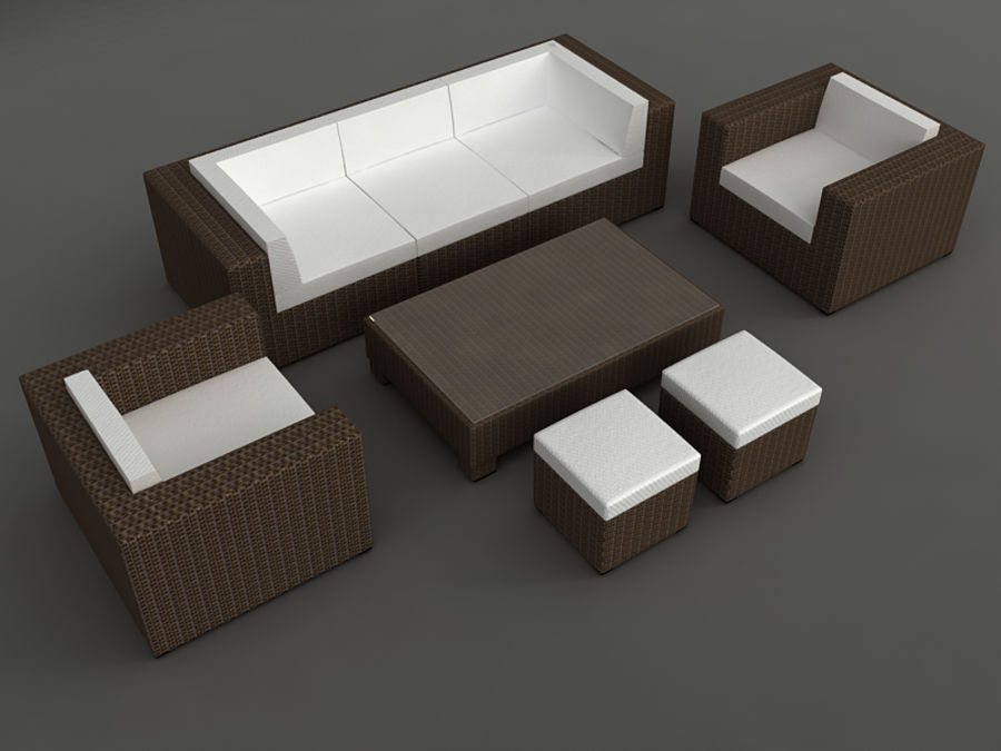 Rattan lounge furniture set_collection royalty-free 3d model - Preview no. 6