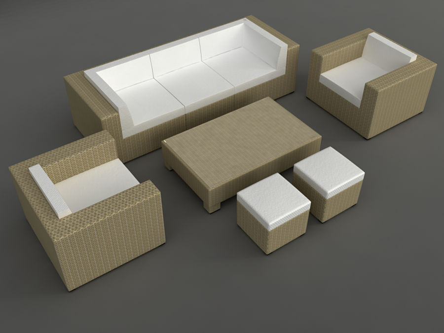 Rattan lounge furniture set_collection royalty-free 3d model - Preview no. 7