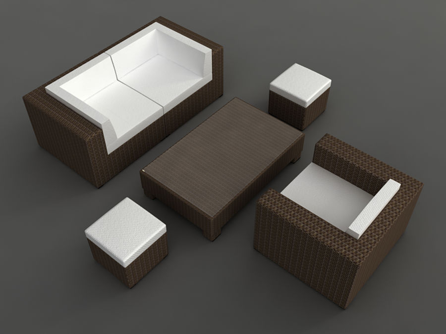 Rattan lounge furniture set_collection royalty-free 3d model - Preview no. 12