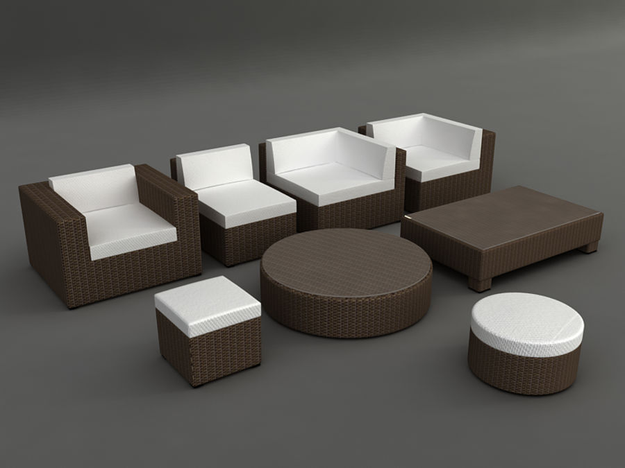 Rattan lounge furniture set_collection royalty-free 3d model - Preview no. 2