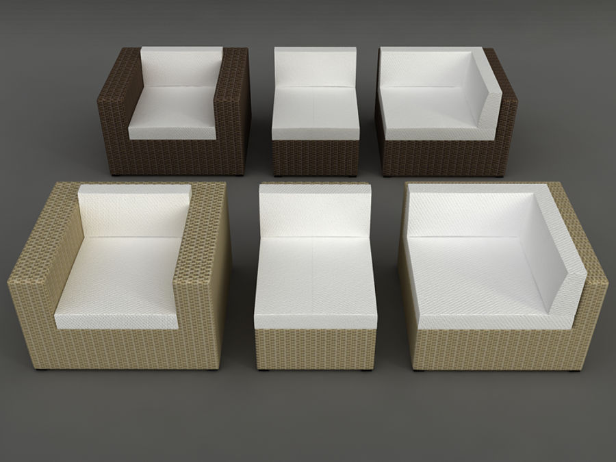Rattan lounge furniture set_collection royalty-free 3d model - Preview no. 4