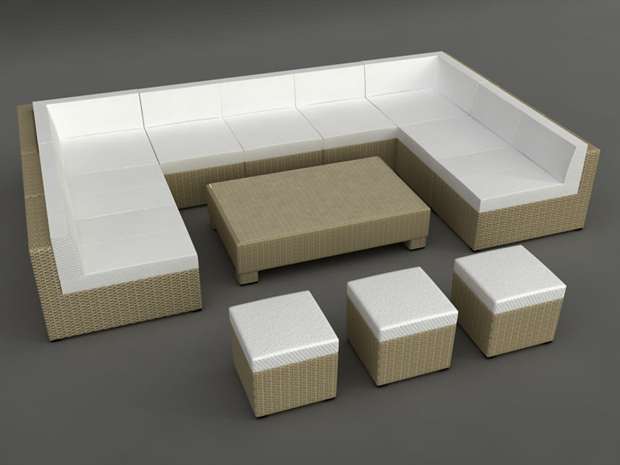 Rattan lounge furniture set_collection royalty-free 3d model - Preview no. 19