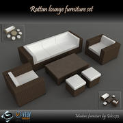Rattan lounge furniture set_collection 3d model