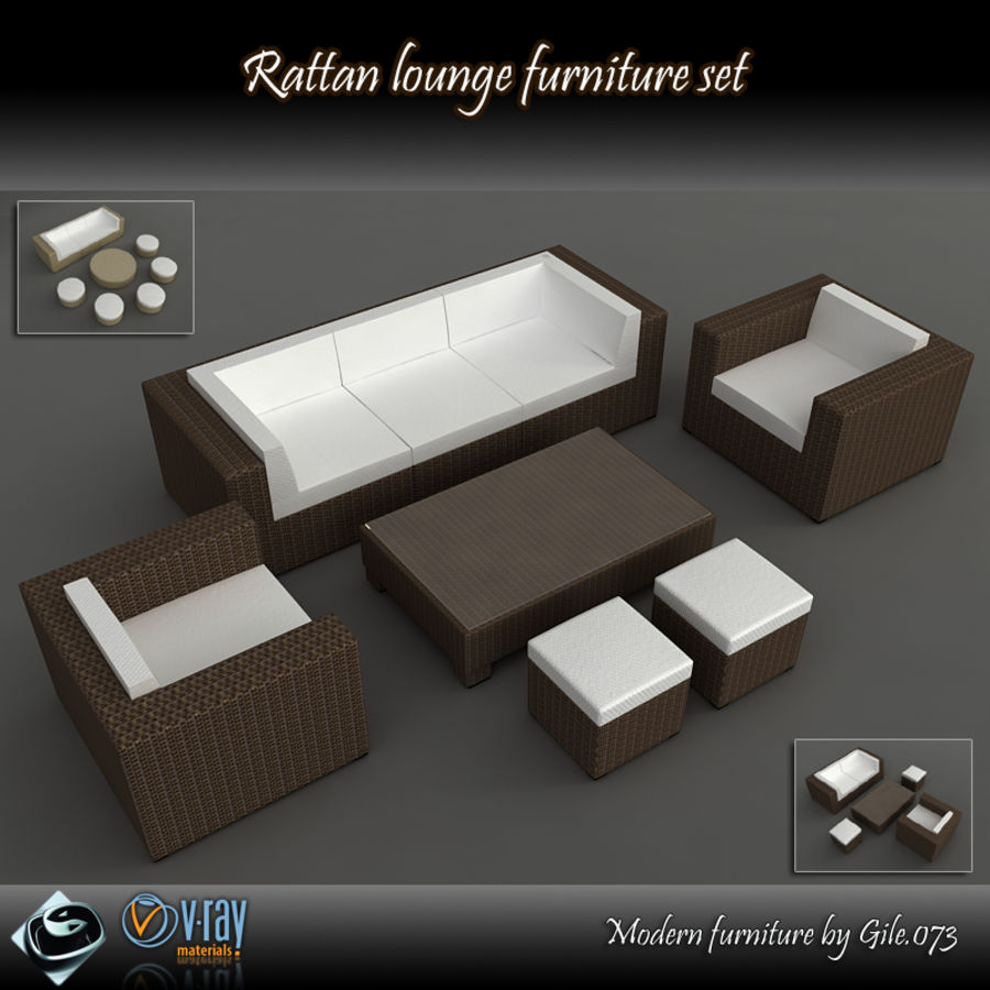 Rattan lounge furniture set_collection royalty-free 3d model - Preview no. 1