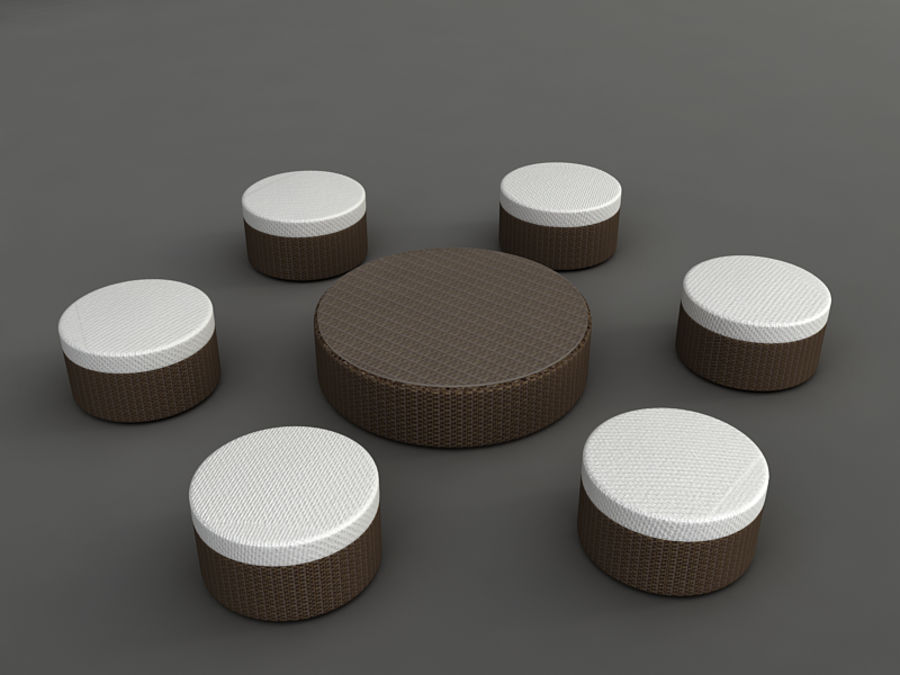 Rattan lounge furniture set_collection royalty-free 3d model - Preview no. 16