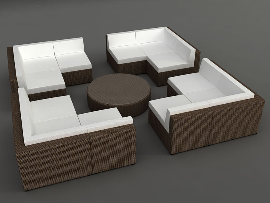 Rattan lounge furniture set_collection royalty-free 3d model - Preview no. 14