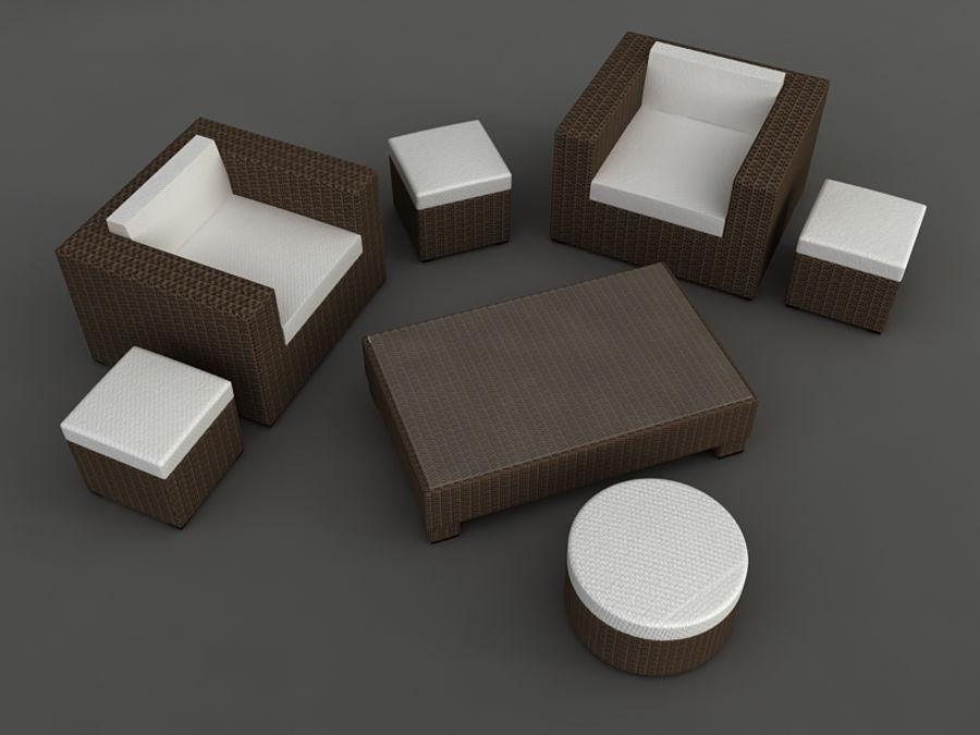 Rattan lounge furniture set_collection royalty-free 3d model - Preview no. 8