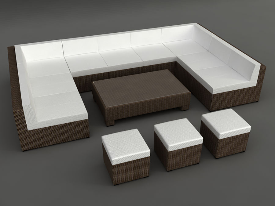 Rattan lounge furniture set_collection royalty-free 3d model - Preview no. 18