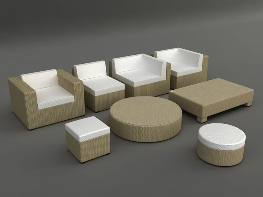 Rattan lounge furniture set_collection royalty-free 3d model - Preview no. 3