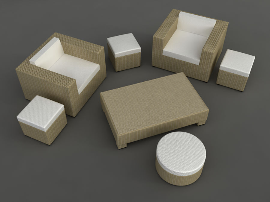 Rattan lounge furniture set_collection royalty-free 3d model - Preview no. 9
