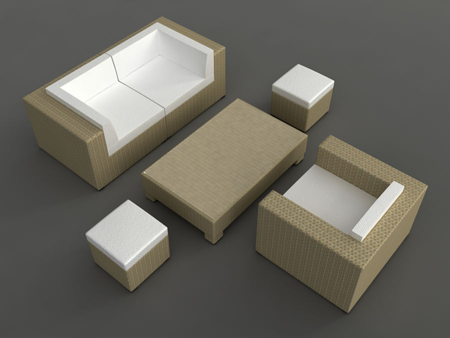 Rattan lounge furniture set_collection royalty-free 3d model - Preview no. 13
