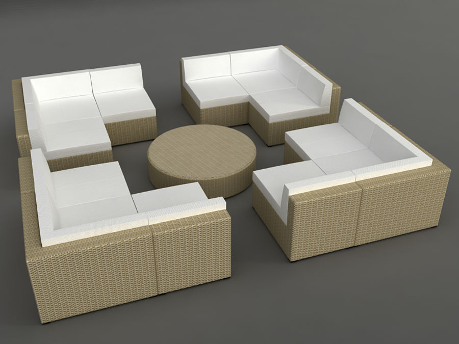 Rattan lounge furniture set_collection royalty-free 3d model - Preview no. 15