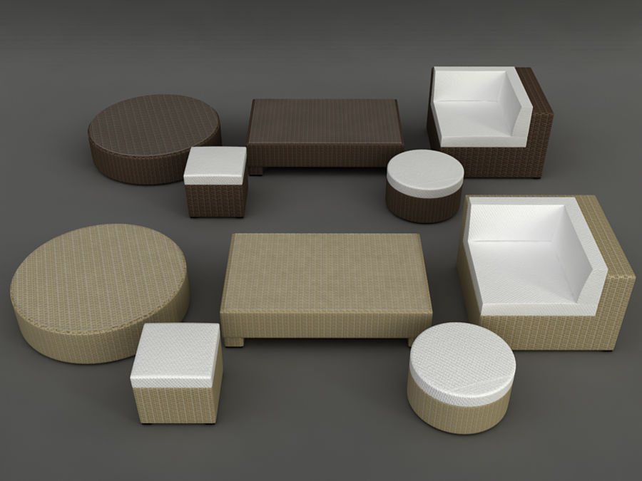 Rattan lounge furniture set_collection royalty-free 3d model - Preview no. 5
