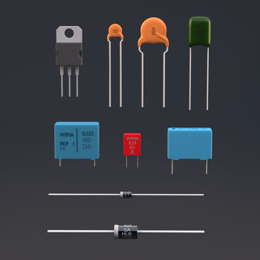 Electronic Components royalty-free 3d model - Preview no. 1