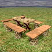 Natuur houten tafel met banken 3d model