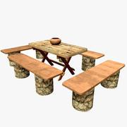 Table en bois nature avec bancs 3d model