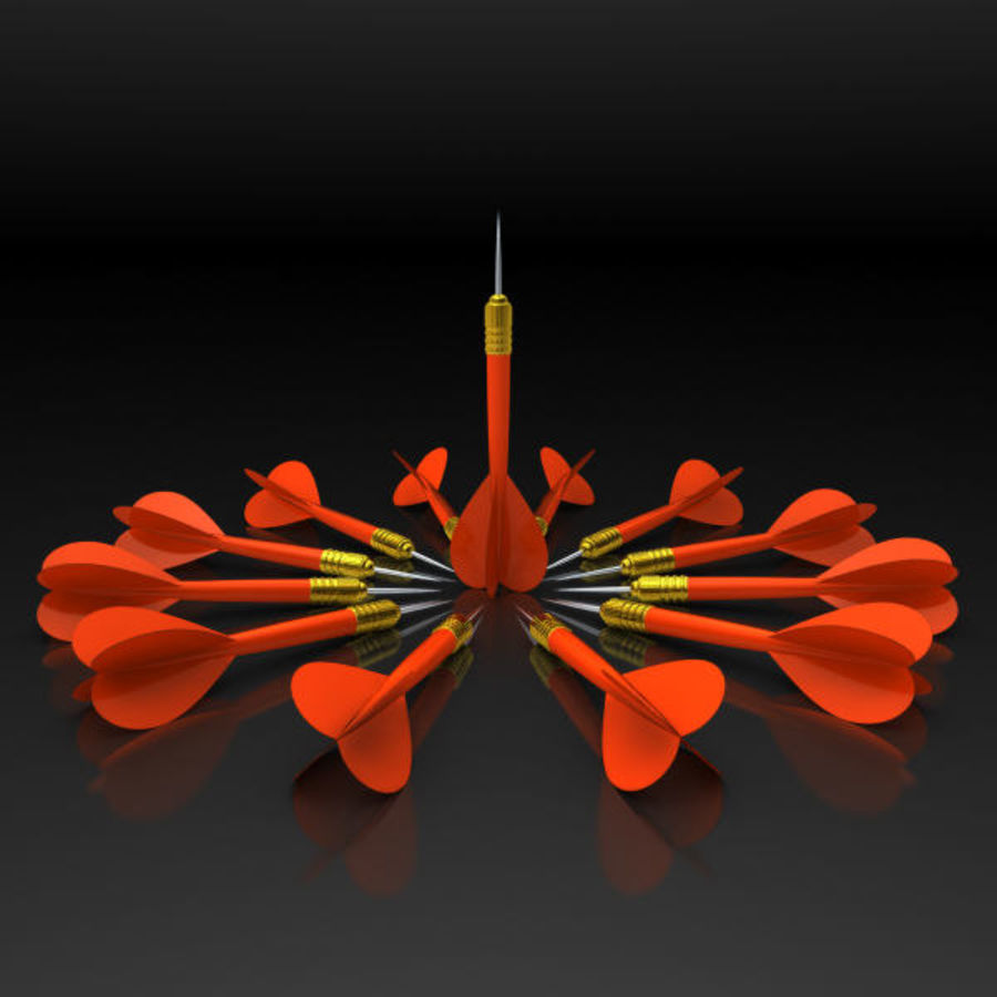 Red Dart Arrow royalty-free 3d model - Preview no. 2