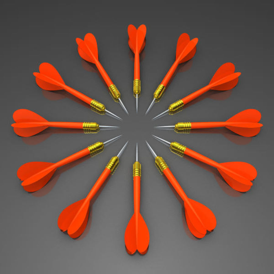 Red Dart Arrow royalty-free 3d model - Preview no. 6