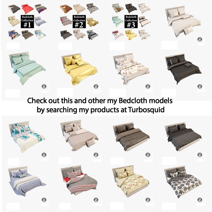 Bedcloth(14) royalty-free 3d model - Preview no. 16