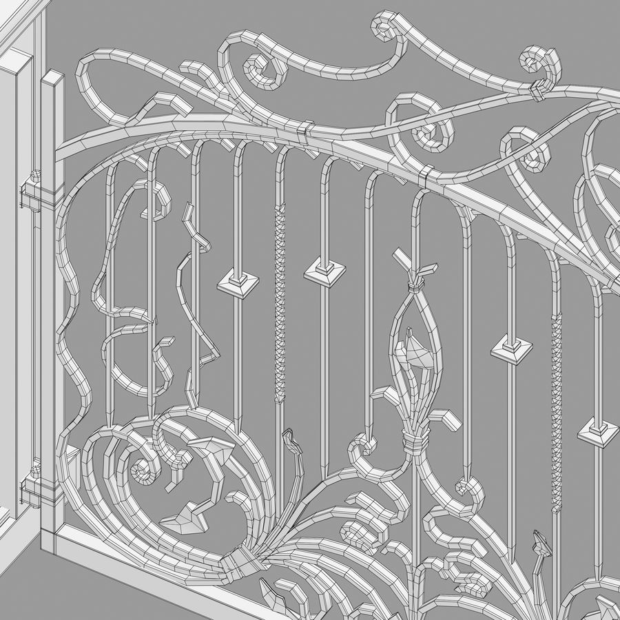 Wrought Iron Gate royalty-free 3d model - Preview no. 13