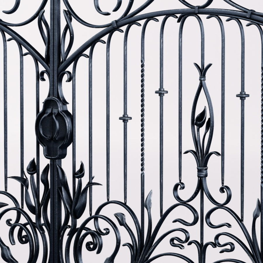 Wrought Iron Gate royalty-free 3d model - Preview no. 7
