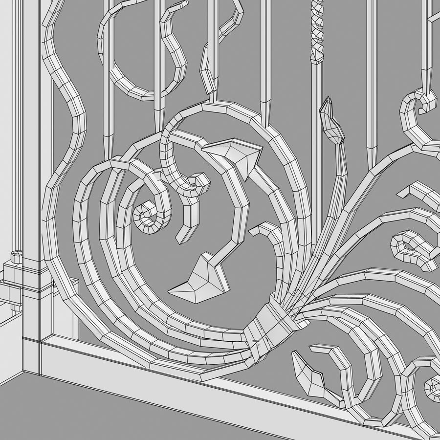 Wrought Iron Gate royalty-free 3d model - Preview no. 15