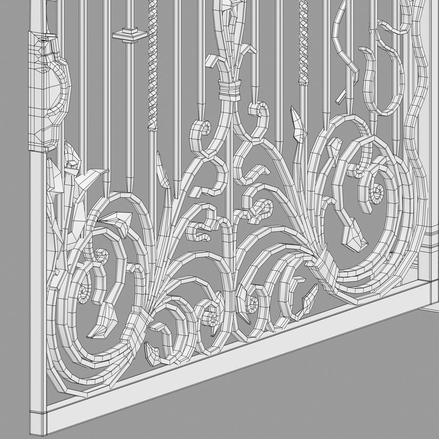 Wrought Iron Gate royalty-free 3d model - Preview no. 16