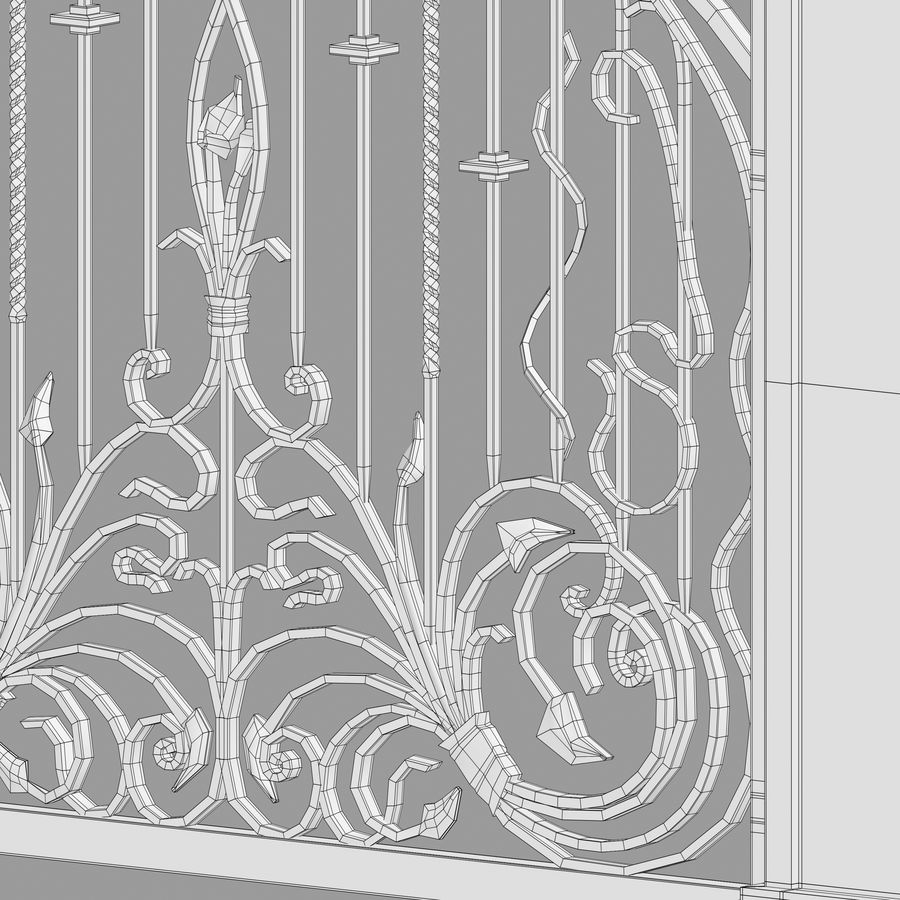 Wrought Iron Gate royalty-free 3d model - Preview no. 18