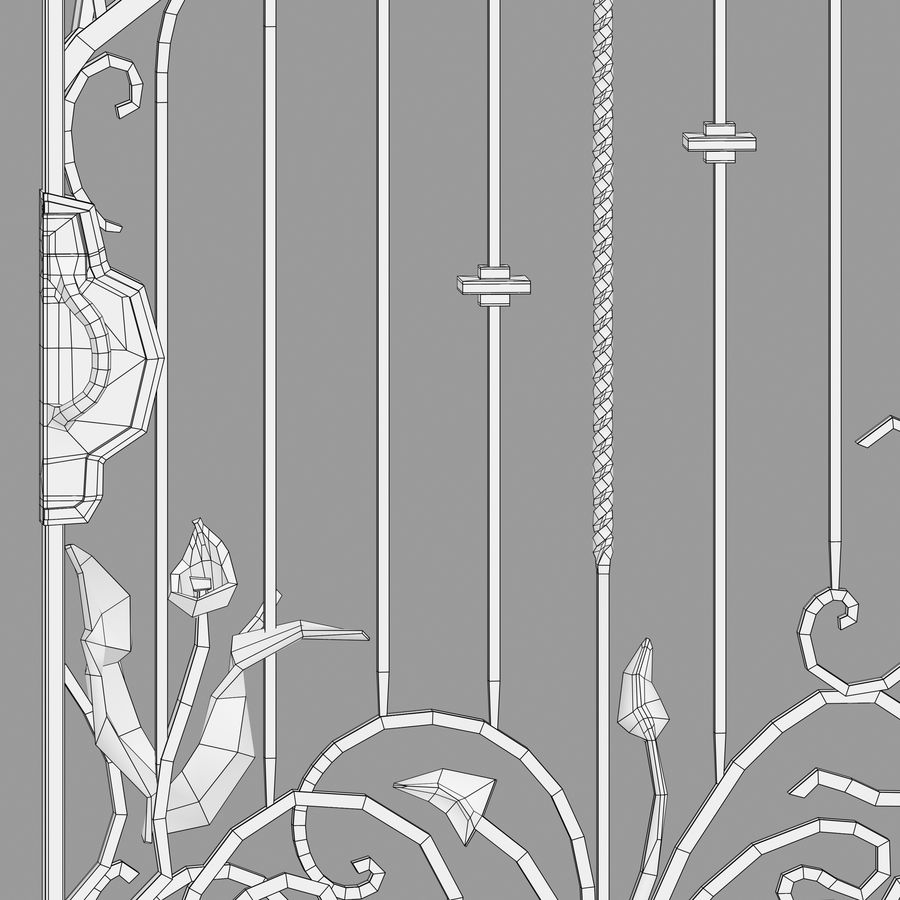 Wrought Iron Gate royalty-free 3d model - Preview no. 17