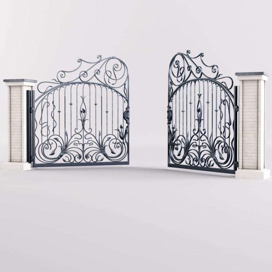 Wrought Iron Gate royalty-free 3d model - Preview no. 10