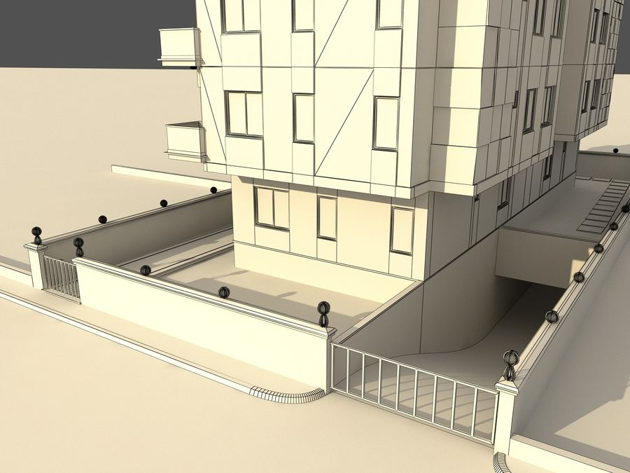 Edificio de la casa de la ciudad 1 royalty-free modelo 3d - Preview no. 12