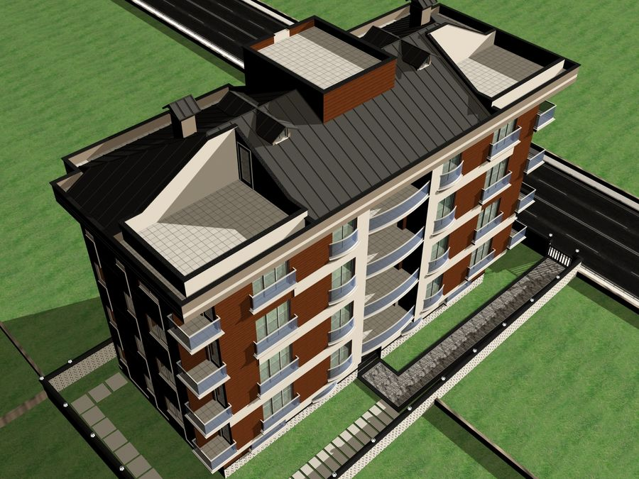 Edificio de la casa de la ciudad 1 royalty-free modelo 3d - Preview no. 14