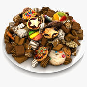 빵 굽기 휴일 전통적인 초콜렛 과자 접시에 스위트 말하다 (2) 3d model