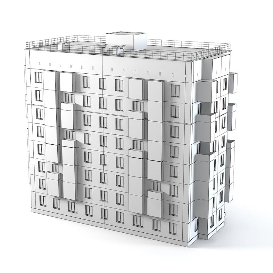 Brick Old Civil Building royalty-free 3d model - Preview no. 7