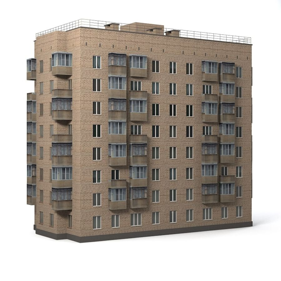 Brick Old Civil Building royalty-free 3d model - Preview no. 4